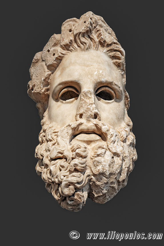 Marble colossal head of Zeus (150 B.C.) in National Museum, Greece