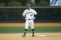Michael Ludowig (22) of the Wake Forest Demon Deacons takes his lead off of second base against the Sacred Heart Pioneers at David F. Couch Ballpark on February 15, 2019 in  Winston-Salem, North Carolina.  The Demon Deacons defeated the Pioneers 14-1. (Brian Westerholt/Four Seam Images)
