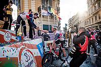 Jasper Stuyven (BEL/Trek-Segafredo) wins the 112th Milano-Sanremo 2021 (1.UWT) and shares teh champaign with friend/teammate Ryan Mullen (IRE/Trek-Segafredo)<br /> <br /> 1 day race from Milan to Sanremo (299km)<br /> <br /> ©kramon