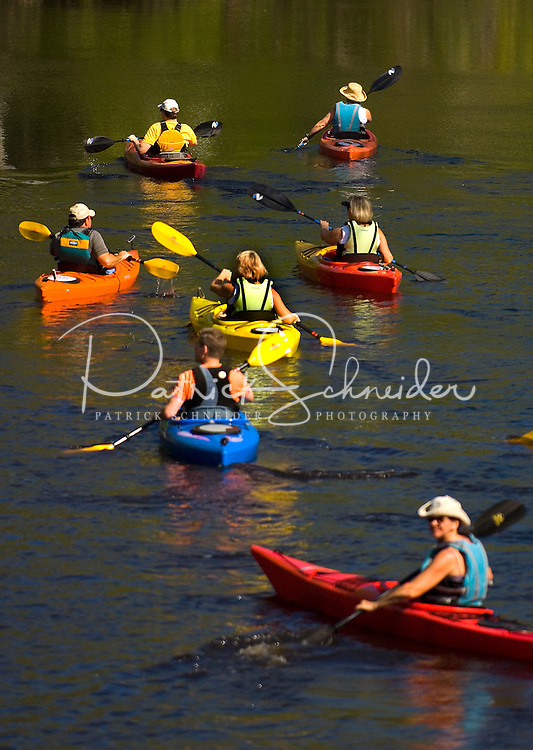 A group of paddlers make the way down a river in their kayak's in Amelia Island, FL