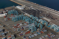 aerial photograph APM Terminals Pier 400 at the Port of Los Angeles, San Pedro, Los Angeles County, California, the largest proprietary terminal in the world