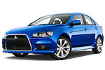Stock pictures of low aggressive front three quarter view of a 2015 Mitsubishi Lancer  Sportback 5 Door Hatchback