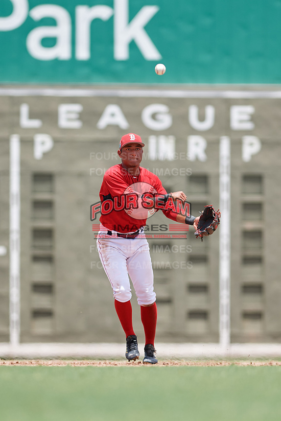 GCL Red Sox shortstop Ivan Houellemont (56) throws to first base during a game against the GCL Orioles on August 9, 2018 at JetBlue Park in Fort Myers, Florida.  GCL Red Sox defeated GCL Orioles 10-4.  (Mike Janes/Four Seam Images)