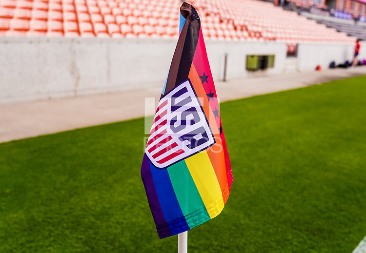 SANDY, UT - JUNE 10: USA corner flag during a game between Costa Rica and USMNT at Rio Tinto Stadium on June 10, 2021 in Sandy, Utah.