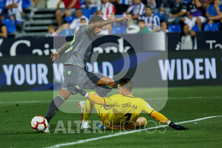 Leganes' Ivan Cuellar and Real Sociedad's Willian Jose Da Silva during La Liga match. August 24, 2018. (ALTERPHOTOS/A. Perez Meca)
