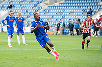 Callum Harriott of Colchester United turns to celebrate after cooly slotting home the penalty for a two goal lead during Colchester United vs Oldham Athletic, Sky Bet EFL League 2 Football at the JobServe Community Stadium on 3rd October 2020