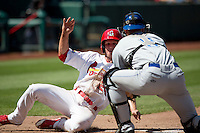Matt Williams (25) of the Springfield Cardinals is tagged out while sliding into home plate by Tom Murphy (9) of the Tulsa Drillers during a game at Hammons Field on May 4, 2014 in Springfield, Missouri. (David Welker/Four Seam Images)