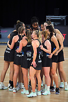 The Silver Ferns huiddle after the Cadbury Netball Series match between NZ Silver Ferns and NZ Men at the Fly Palmy Arena in Palmerston North, New Zealand on Thursday, 22 October 2020. Photo: Dave Lintott / lintottphoto.co.nz