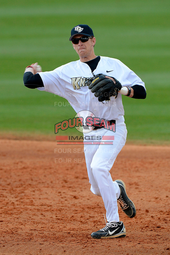 Central Florida Knights shortstop Tommy Williams #14 during a game against the Siena Saints at Jay Bergman Field on February 16, 2013 in Orlando, Florida.  Siena defeated UCF 7-4.  (Mike Janes/Four Seam Images)