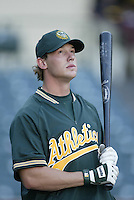 Jason Grabowski of the Oakland Athletics before a 2002 MLB season game against the Los Angeles Angels at Angel Stadium, in Anaheim, California. (Larry Goren/Four Seam Images)