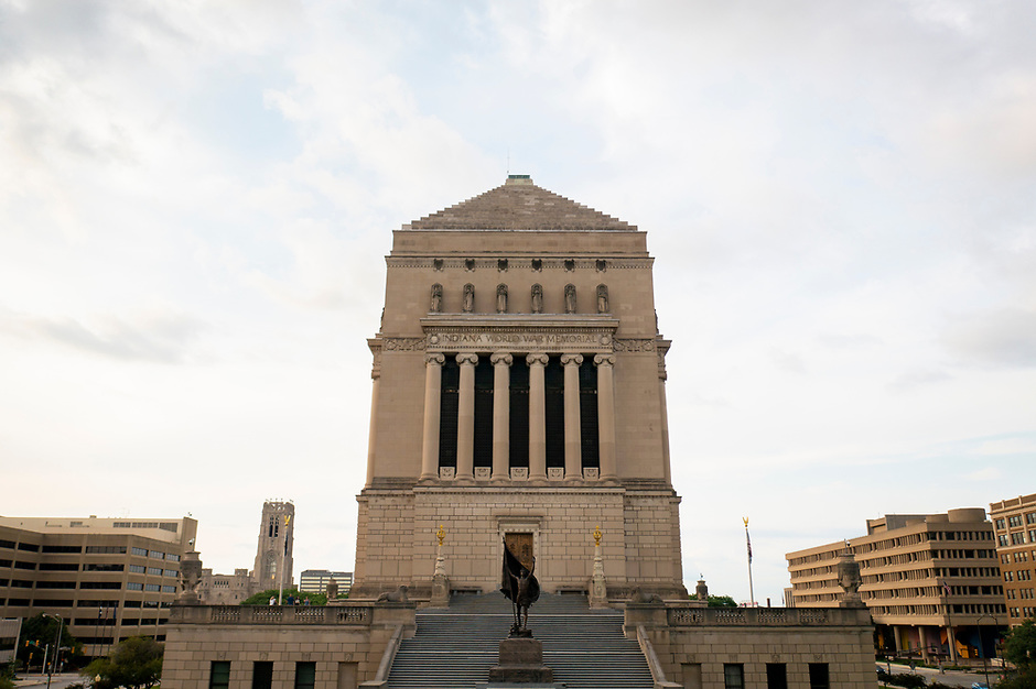 The Indiana War Memorial Museum is pictured from the air in downtown Indianapolis, Indiana on Saturday, July 17, 2021. (Photo by James Brosher)