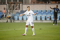 SAN JOSE, CA - SEPTEMBER 13: Javier Hernandez #14 of the Los Angeles Galaxy reacts during a game between Los Angeles Galaxy and San Jose Earthquakes at Earthquakes Stadium on September 13, 2020 in San Jose, California.