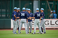 Charlotte Stone Crabs Mac Seibert (center) with teammates during warmups before a Florida State League game against the Bradenton Marauders on April 10, 2019 at LECOM Park in Bradenton, Florida.  Bradenton defeated Charlotte 2-1.  (Mike Janes/Four Seam Images)