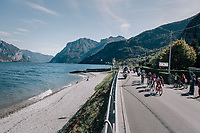 the breakaway group riding by Lake Como<br /> <br /> Il Lombardia 2017<br /> Bergamo to Como (ITA) 247km