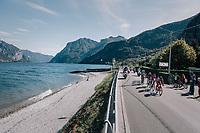 the breakaway group riding by Lake Como<br /> <br /> Il Lombardia 2017<br /> Bergamo to Como (ITA) 247km