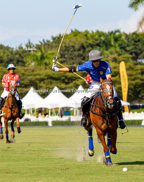 March 07, 2021:  Park Place Polo Club defeats Scone Polo Club 11-10 in Overtime, in the C. V. Whitney Final, at the International Polo Club, Palm Beach, on March 07, 2021, in Wellington, Florida. The first leg of the Gauntlet of Polo. Park Place's Jack Whitman was Most Valuable Player.  Hilario Ulloa's Lavinia Heroica was Best Playing Pony. (Photo by Liz Lamont/Eclipse Sportswire/CSM