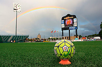Rochester, NY - Friday July 01, 2016: A rainbow over Rochester Rhinos Stadium prior to a regular season National Women's Soccer League (NWSL) match between the Western New York Flash and the Chicago Red Stars at Rochester Rhinos Stadium.