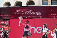 30th May 2021; 104th Giro d Italia 2021, 21st stage Senago to Milan, Italy;  IneGrenadiers 2021, Bahrain - Victorious 2021, Bikeexchange Bernal Gomez, Arley Bilbao, Peio Yates, Simon Milano - celebrate on the podium