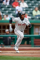 Wisconsin Timber Rattlers center fielder Monte Harrison (3) runs to first base during a game against the Fort Wayne TinCaps on May 10, 2017 at Parkview Field in Fort Wayne, Indiana.  Fort Wayne defeated Wisconsin 3-2.  (Mike Janes/Four Seam Images)