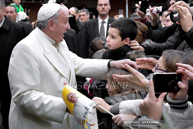 Pope Francis during his pastoral visit to the parish of St. Joseph in all'Aurelio Rome.December 14, 2014