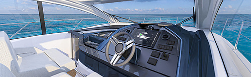At low speed, the boat can be steered easily using the joystick and the optional bow thruster giving you fingertip control over in-harbour manoeuvres and berthing operations
