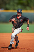 Rutgers Scarlet Knights right fielder Mike Martinez (20) running the bases during a game against the Indiana Hoosiers on February 23, 2018 at North Charlotte Regional Park in Port Charlotte, Florida.  Indiana defeated Rutgers 7-6.  (Mike Janes/Four Seam Images)