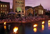 Providence, RI, Rhode Island, Waterfire Providence along Providence River in downtown Providence in the evening.