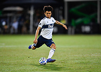 LAKE BUENA VISTA, FL - JULY 26: Hwang In-Beom of Vancouver Whitecaps FC takes a shot during a game between Vancouver Whitecaps and Sporting Kansas City at ESPN Wide World of Sports on July 26, 2020 in Lake Buena Vista, Florida.