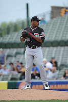 Erie Sea Wolves pitcher Jose Valdez (45) during game against the Trenton Thunder at ARM & HAMMER Park on May 15, 2014 in Trenton, NJ.  Erie defeated Trenton 4-2.  (Tomasso DeRosa/Four Seam Images)