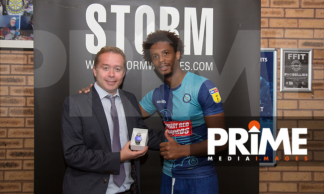 Joe Jacobson of Wycombe Wanderers wins MOTM presented by sponsor Cherry Red Records during the Sky Bet League 1 match between Wycombe Wanderers and Luton Town at Adams Park, High Wycombe, England on 1 September 2018. Photo by Andy Rowland.