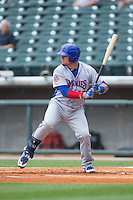 Kyle Schwarber (12) of the Tennessee Smokies at bat against the Birmingham Barons at Regions Field on May 4, 2015 in Birmingham, Alabama.  The Barons defeated the Smokies 4-3 in 13 innings. (Brian Westerholt/Four Seam Images)