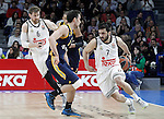 Real Madrid's Andres Nocioni (l) and Facundo Campazo (r) and Alba Berlin's Ismet Akpinar during Euroleague match.March 12,2015. (ALTERPHOTOS/Acero)