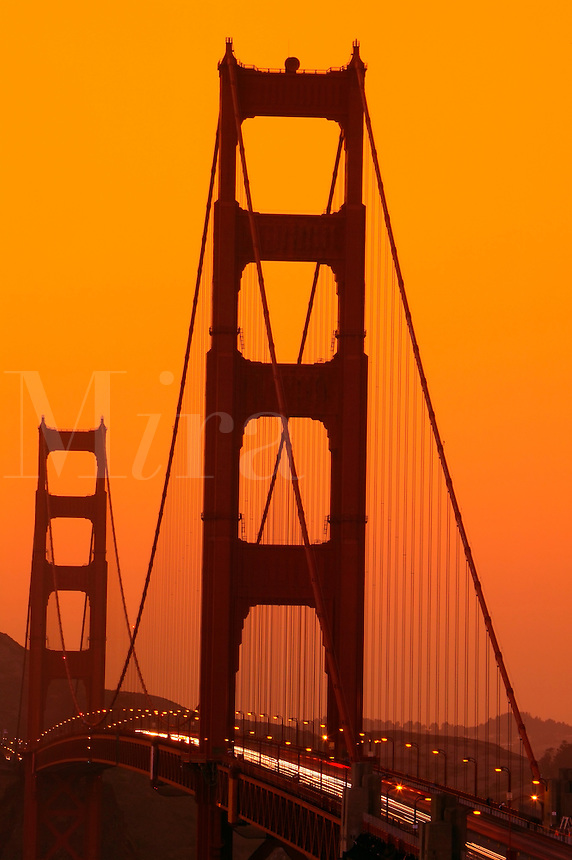 The Golden Gate Bridge at sunset from the Presidio, San Francisco, California