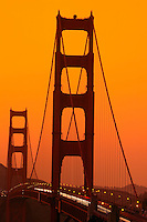 The Golden Gate Bridge at sunset from the Presidio, San Francisco, California