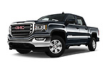 Stock pictures of low aggressive front three quarter view of 2017 GMC Sierra-1500 Crew-SLE 4 Door Pickup Low Aggressive