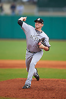 Jackson Generals pitcher Trevor Miller (18) delivers a pitch during a game against the Montgomery Biscuits on April 29, 2015 at Riverwalk Stadium in Montgomery, Alabama.  Jackson defeated Montgomery 4-3.  (Mike Janes/Four Seam Images)