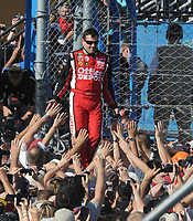 HOMESTEAD, FL - NOVEMBER 20: Driver Tony Stewart wins the NASCAR Sprint Cup Series Ford 400 and the Sprint Cup championship over driver Carl Edwards at Homestead-Miami Speedway on November 20, 2011 in Homestead, Florida<br /> <br /> <br /> People:  Tony Stewart