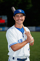 Bluefield Blue Jays Cal Stevenson (19) poses for a photo before a game against the Bristol Pirates on July 26, 2018 at Bowen Field in Bluefield, Virginia.  Bristol defeated Bluefield 7-6.  (Mike Janes/Four Seam Images)