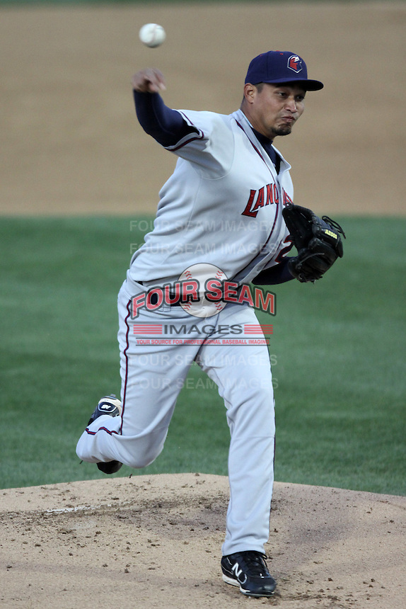 David Martinez #25 of the Lancaster JetHawks pitches against the Rancho Cucamonga Quakes at The Epicenter on April 10, 2012 in Rancho Cucamonga,California.  Rancho Cucamonga defeated Lancaster 7-5.(Larry Goren/Four Seam Images)