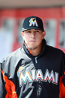 Miami Marlins pitcher Jose Fernandez #16 during a game against the Cincinnati Reds at Great American Ball Park on April 20, 2013 in Cincinnati, Ohio.  Cincinnati defeated Miami 3-2 in 13 innings.  (Mike Janes/Four Seam Images)