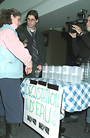 Montreal (QC) CANADA - 1997 file photo -  - Jean-Rene Dufort interview a participant at a water degustation  during Sympeau 1997