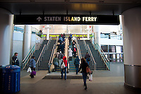 People going up to Staten Island Ferry in the port, lower Manhattan, New York City