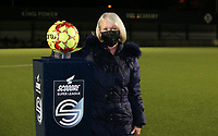 Match ball sponsor pictured with the ball before a female soccer game between Oud Heverlee Leuven and Sporting de Charleroi on the seventh matchday of the 2020 - 2021 season of Belgian Womens Super League , sunday 15 th of November 2020  in Heverlee , Belgium . PHOTO SPORTPIX.BE | SPP | SEVIL OKTEM