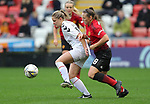 Kirsty Hanson of Manchester United Women and Ellie Bailles of Charlton Athletic Women