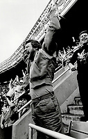 1985 FILE PHOTO - ARCHIVES -<br /> <br /> Atta go! There is nothing timid about dedicated Yankee fan Walter Zarenda; who nearly falls out of the stands when the boys in pinstripes score. You know what is means to be a Yankee fan? It's live and die; man; Zarenda says.<br /> <br /> 1985<br /> <br /> PHOTO :  Erin Comb - Toronto Star Archives - AQP