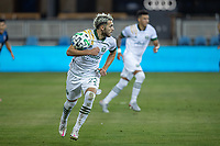 SAN JOSE, CA - SEPTEMBER 19: Cristhian Paredes #44 of the Portland Timbers controls the ball during a game between Portland Timbers and San Jose Earthquakes at Earthquakes Stadium on September 19, 2020 in San Jose, California.