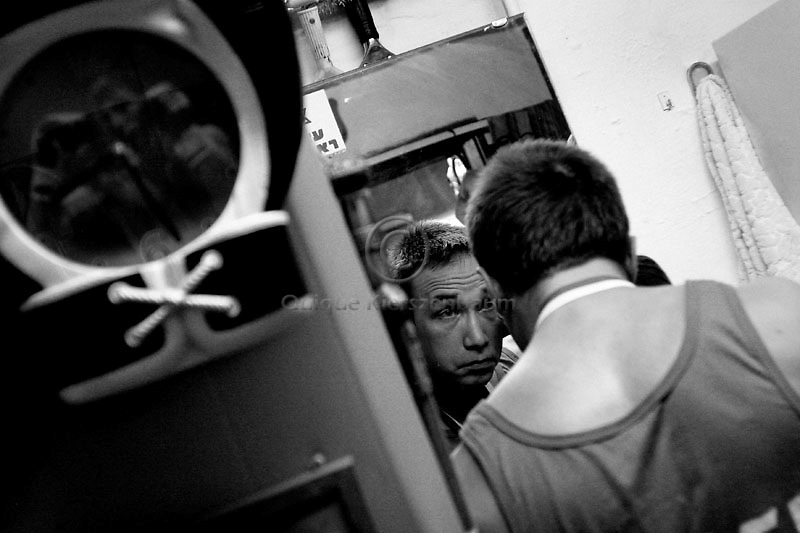 Micheal Tziken checks his wounds at the Jerusalem Boxing Club during the Jerusalem Championship.  Located in a bomb shelter, the club has 150 members in which the big majority is Jewish, with a minority of Arabs from East Jerusalem (15 members). 09/11/2007
