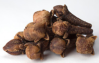 Macro close-up of Whole Cloves in a Bunch on a white backdrop