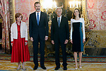 (L-R) Eduardo Mendoza's wife Ana Soler, King Felipe VI of Spain, Spanish writer Eduardo Mendoza and Queen Letizia of Spain attend the official lunch for 'Miguel de Cervantes 2016' Literature award at the Royal Palace. April 19 ,2017. (ALTERPHOTOS/Pool)