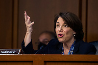 United States Senator Amy Klobuchar (Democrat of Minnesota) delivers remarks during the confirmation hearing for Supreme Court nominee Judge Amy Coney Barrett before the Senate Judiciary Committee on Capitol Hill in Washington, DC, USA, 15 October 2020. Barrett was nominated by President Donald Trump to fill the vacancy left by Justice Ruth Bader Ginsburg who passed away in September.<br /> Credit: Shawn Thew / Pool via CNP /MediaPunch
